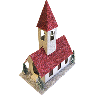 Vintage Cardboard Church w/Steeple Christmas House