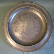 Large Early Pewter Charger, Marked ETAIN 90% Tin with J. W. Angel Mark