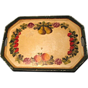 Lovely Large Tole Painted Tray, Strawberries, Grapes, Pears, Peaches