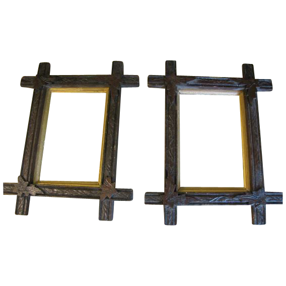 Pair of Matching Carved Wood Photo Frames, Criss-Cross