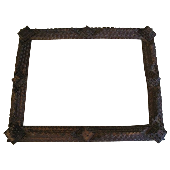 Antique Tramp Art Frame, 4-Layer Chip-Carved