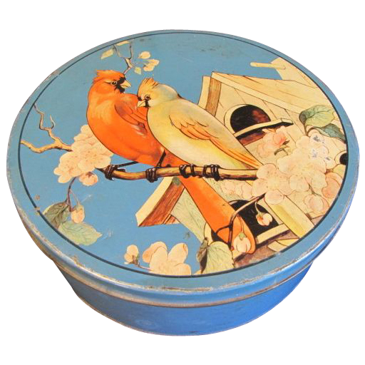 Lovely Bright Blue Tin with Cardinals on Top