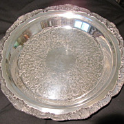 Vintage Round Silverplate Tray, Deep Well.  Poole Silver Co.