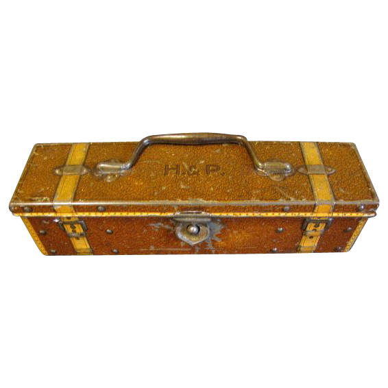 Circa 1912 Antique British Biscuit Tin, PENCIL BOX, Huntley & Palmers