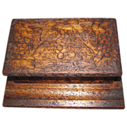 Lovely Pyrography (Flemish Art) Wood Desk Box, Grape Design