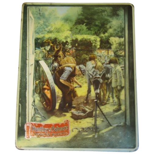 Vintage Huntley & Palmers Biscuit Tin Box, THE SMITHY, Farrier Shoeing a Donkey