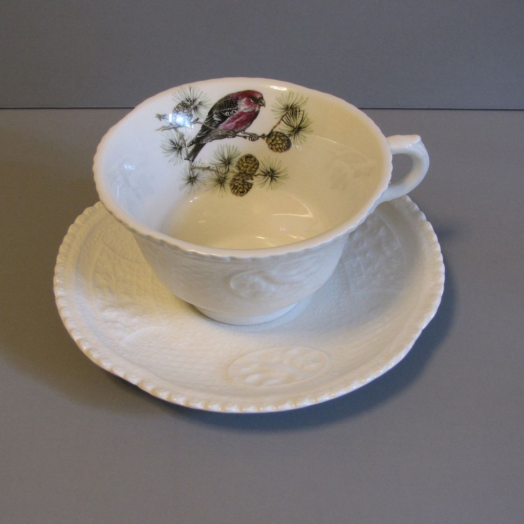 Lovely Ironstone Cup & Saucer, Royal Cauldon, Pine Grosbeak
