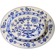 Lovely Blue & White Oval Platter, MEISSEN, Brown-Westhead, Moore, 1862+