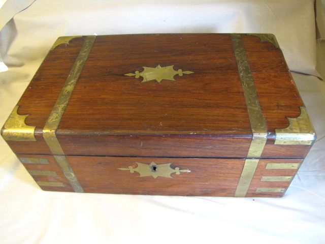 Roll over Large image to magnify, click Large image to zoom - Lovely Antique Campaign Writing Box, Lap Desk From Tomjudy On Ruby