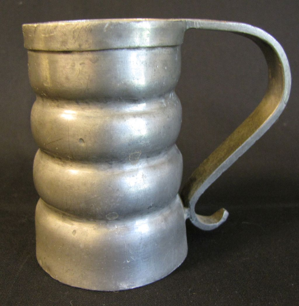 Vintage Pewter Mug, Round Ribs, Marked B