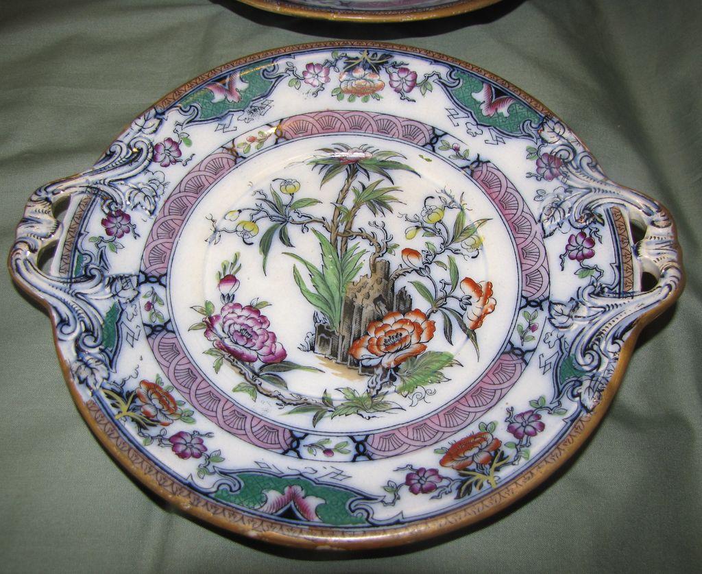 1860-1 Oriental Design Enameled Tray (Plate) w/Handles, MILAN
