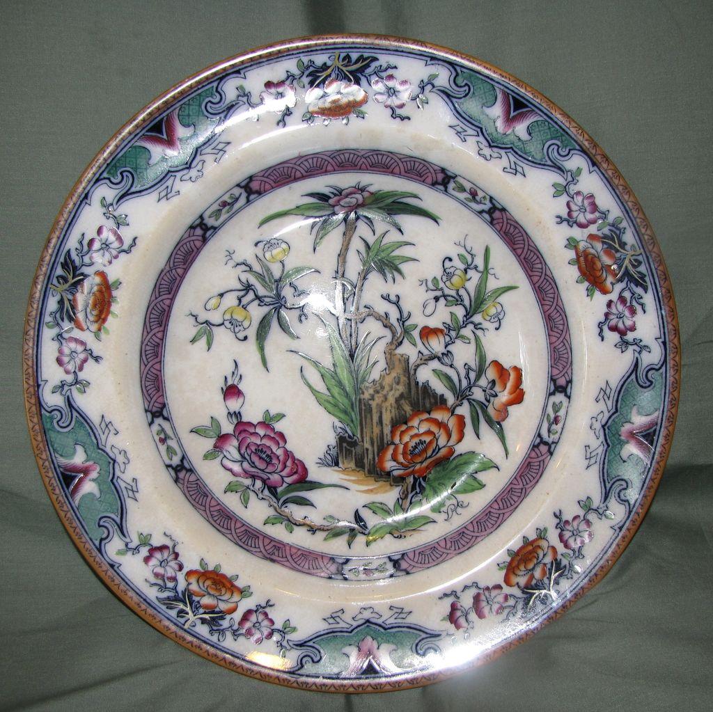 Circa 1860 Soup Plate, Enameled Oriental Design, MILAN
