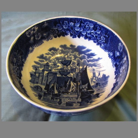 Lovely Blue Transferware Bowl, FERRARA, Wedgwood Etruria