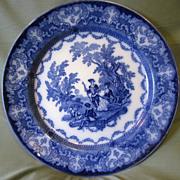 Flow Blue Plate, WATTEAU, Doulton Burslem England