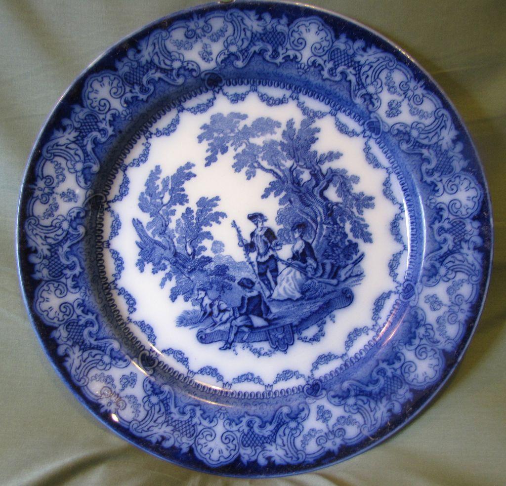 Flow blue plate watteau doulton burslem england from