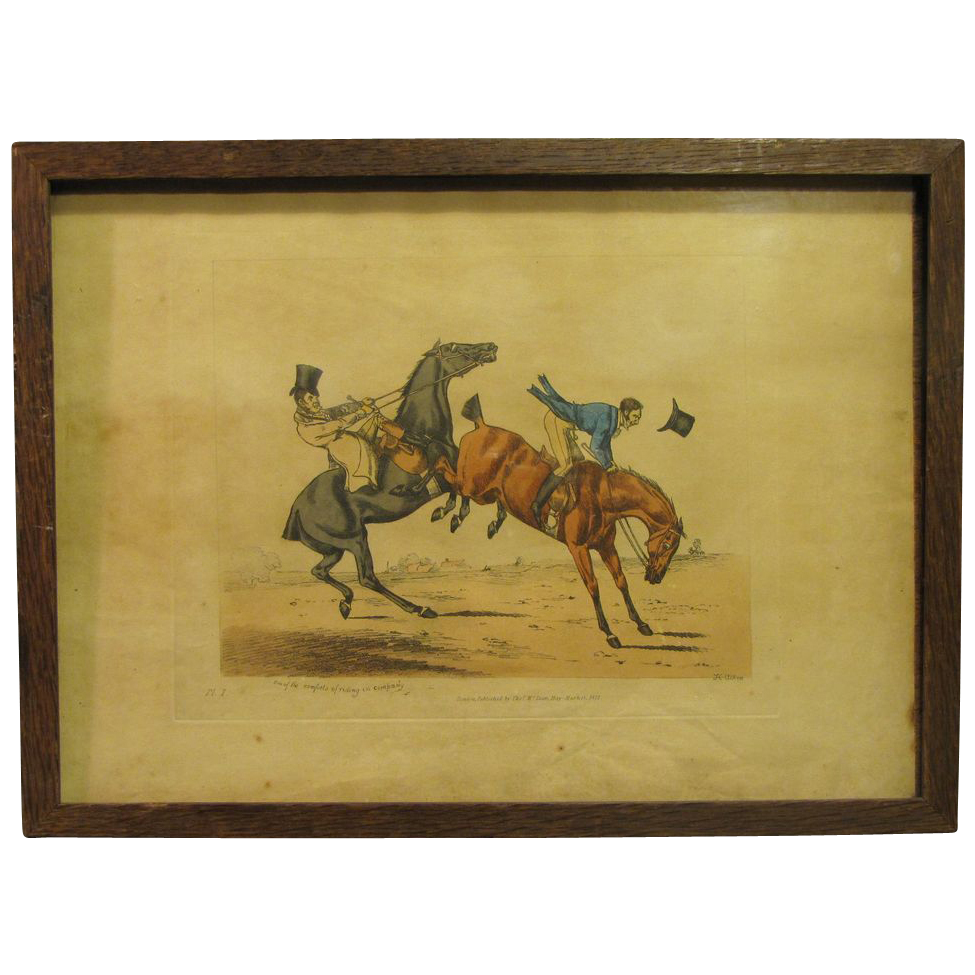 "C. 1821 Colored Engraving Henry Alken ""One of the Comforts of Riding in Company"""