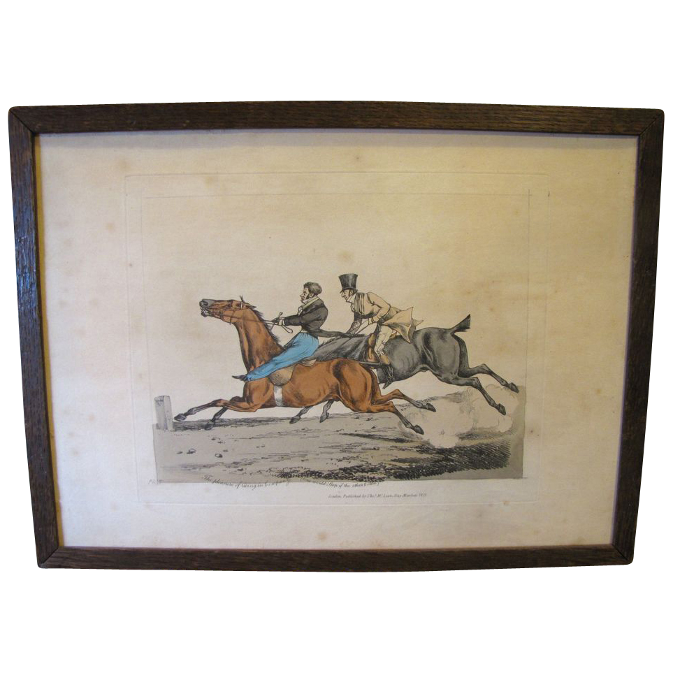 "C. 1821 Colored Engraving Henry Alken ""The Pleasure of Riding in Company"""