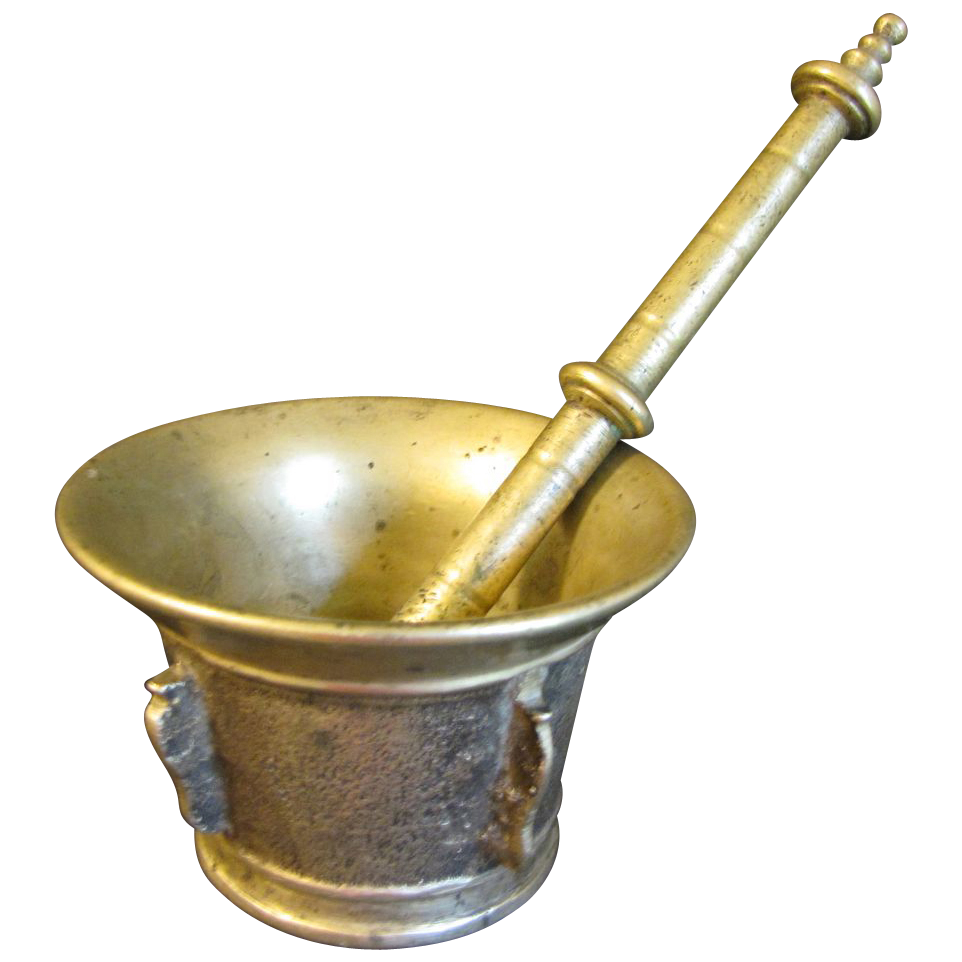 Antique Solid Brass Apothecary Mortar & Pestle