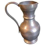 Small Vintage French Pewter Pitcher, ETAIN FIN, Chicken