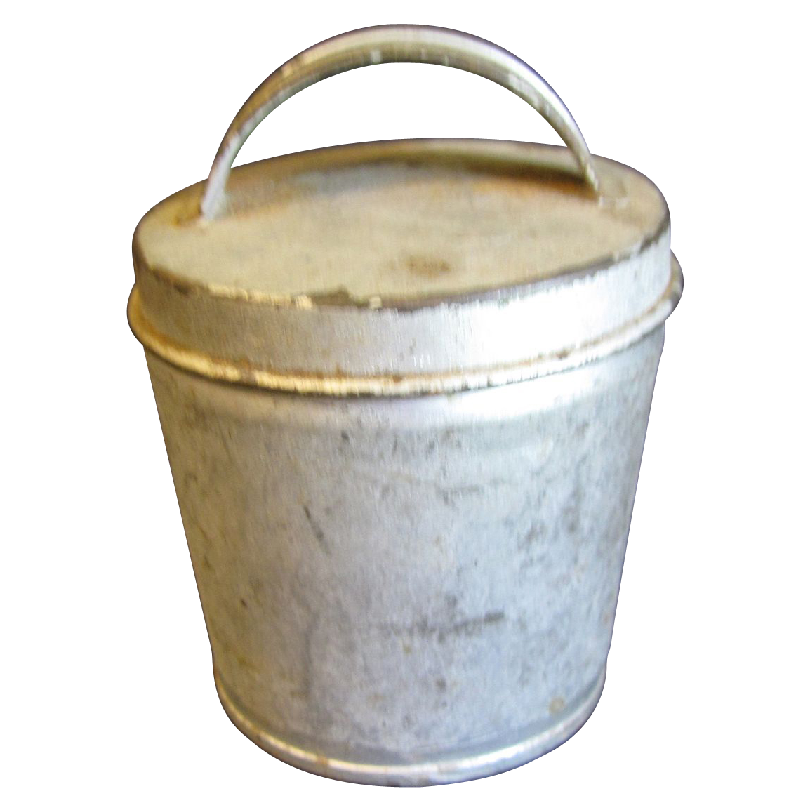 Small vintage tin container lid with handle egg coddler for Small tin containers