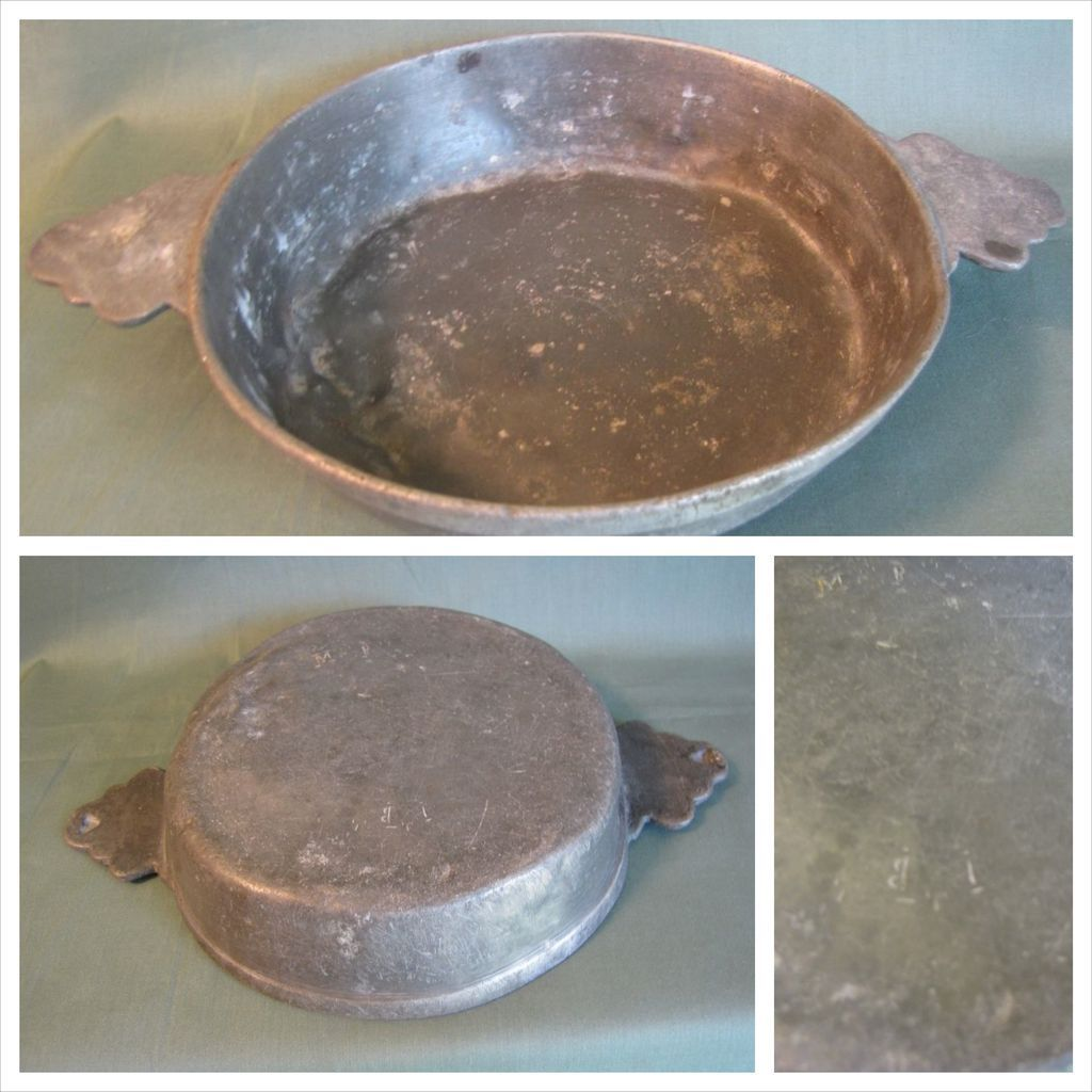 19th Century French Pewter Porringer, Two Handles