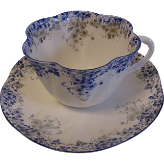 """Lovely Bone China Cup & Saucer Set, DAINTY BLUE"""" by Shelley (6 avail)"""