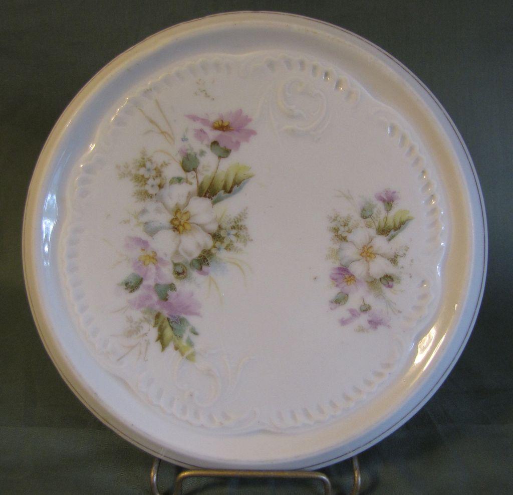Lovely Porcelain Trivet, Wild Roses & Lavender Daisies