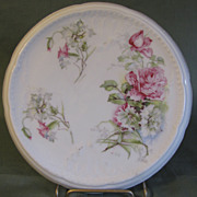 Lovely Porcelain Trivet, Pink Roses & Blue Cornflowers