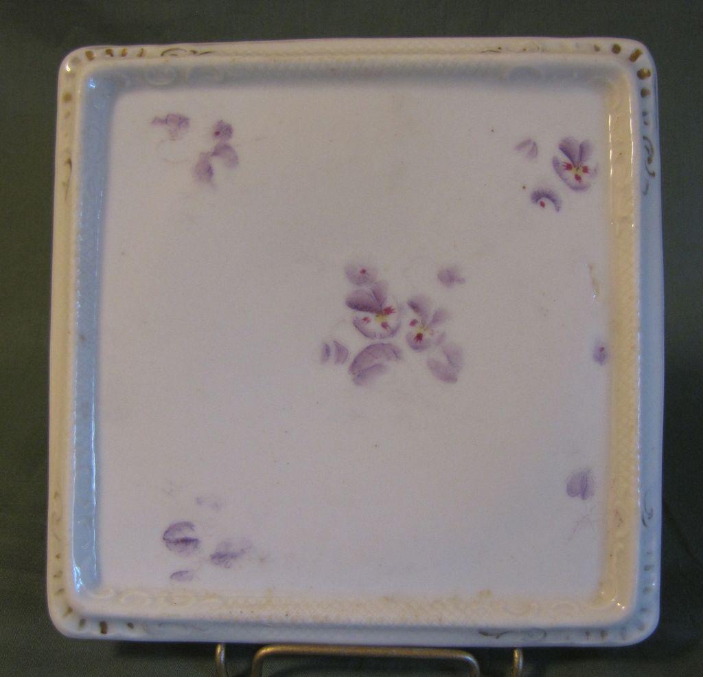 Vintage White Porcelain Square Trivet, Lavender Flowers