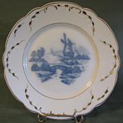 Lovely Blue & White Porcelain Plate, Dutch Windmill
