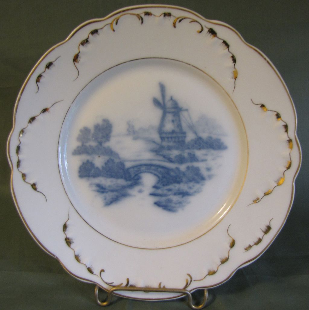 Lovely Blue & White Porcelain Plate, Dutch Windmill