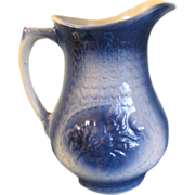 Large A.E. Hull Salt-Glazed Blue & White Stoneware Pitcher, Rose, 1905-35