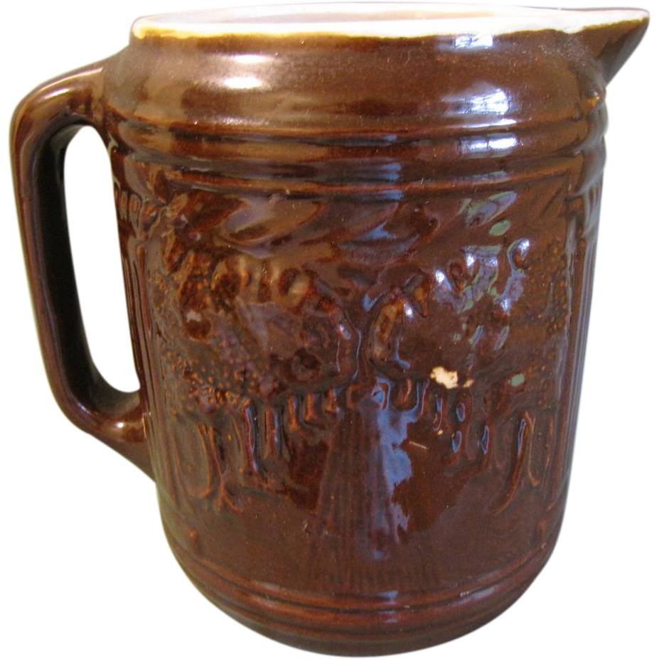 Vintage McCoy Brown Stoneware Pitcher, Avenue of Trees