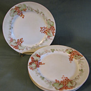 Group of Four Hand-painted Dessert Plates, Germany, Artist Signed