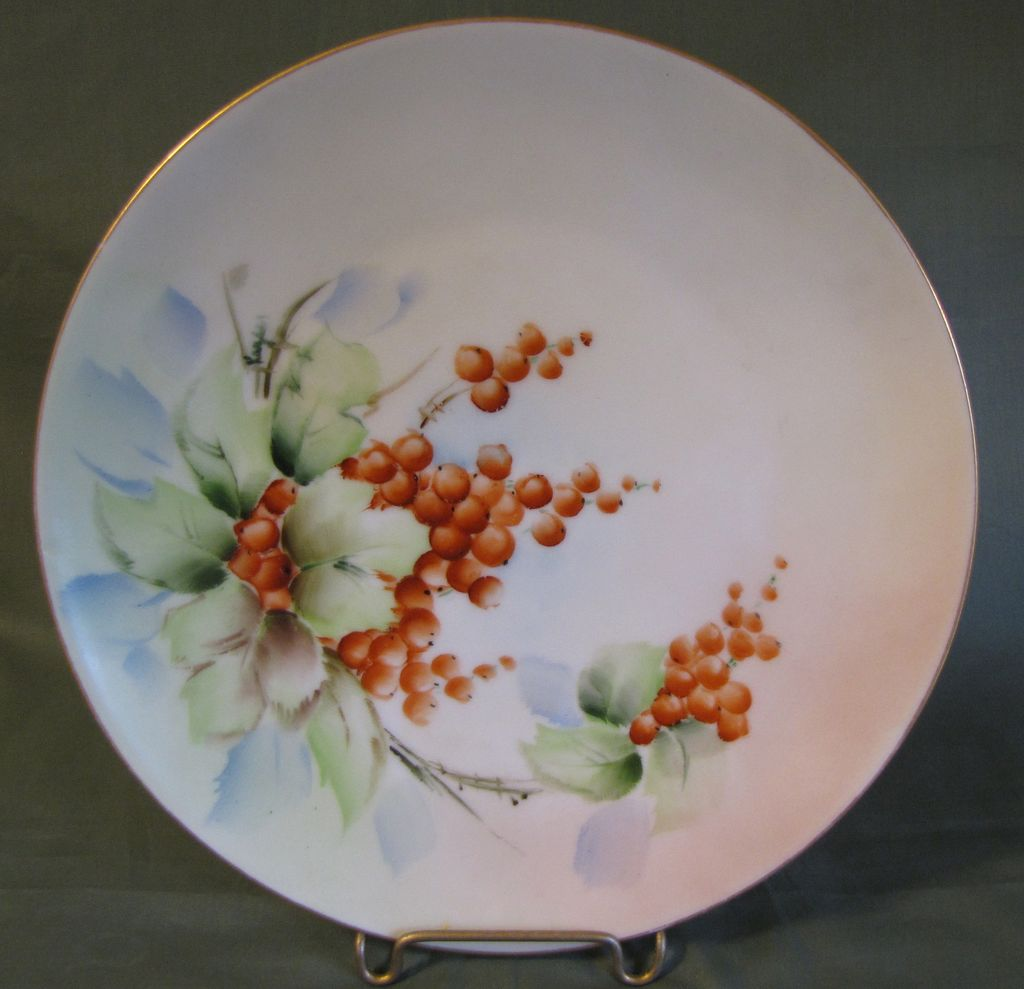 Lovely Bavarian Plate, Artist Painted & Signed Holly Berries
