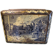 Circa 1900 Colman's Mustard Tin, Large, Fisherman on Pier, Rough Sea