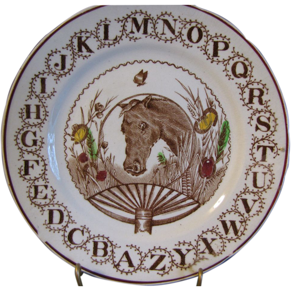 Horse Lovers! ABC Staffordshire Plate W. Adams Circa 1890