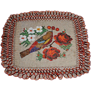 Gorgeous Victorian Beadwork Table Doily Bird & Roses