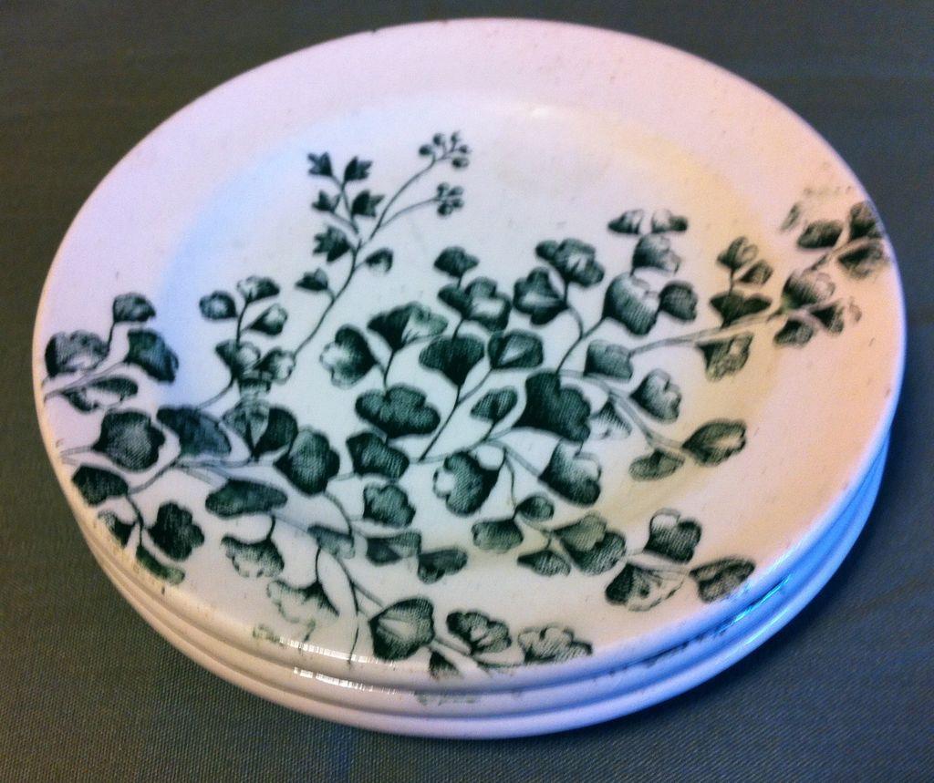 Green Transferware Plate from Child's Tea Set Maiden Hair Fern