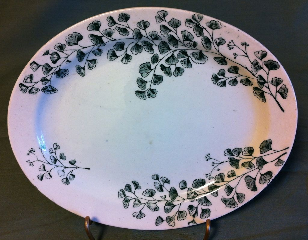 Green Transferware Platter from Child's Tea Set Maiden Hair Fern