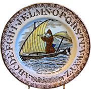"Brown Transferware ABC Plate ""Crusoe Viewing The Island"""