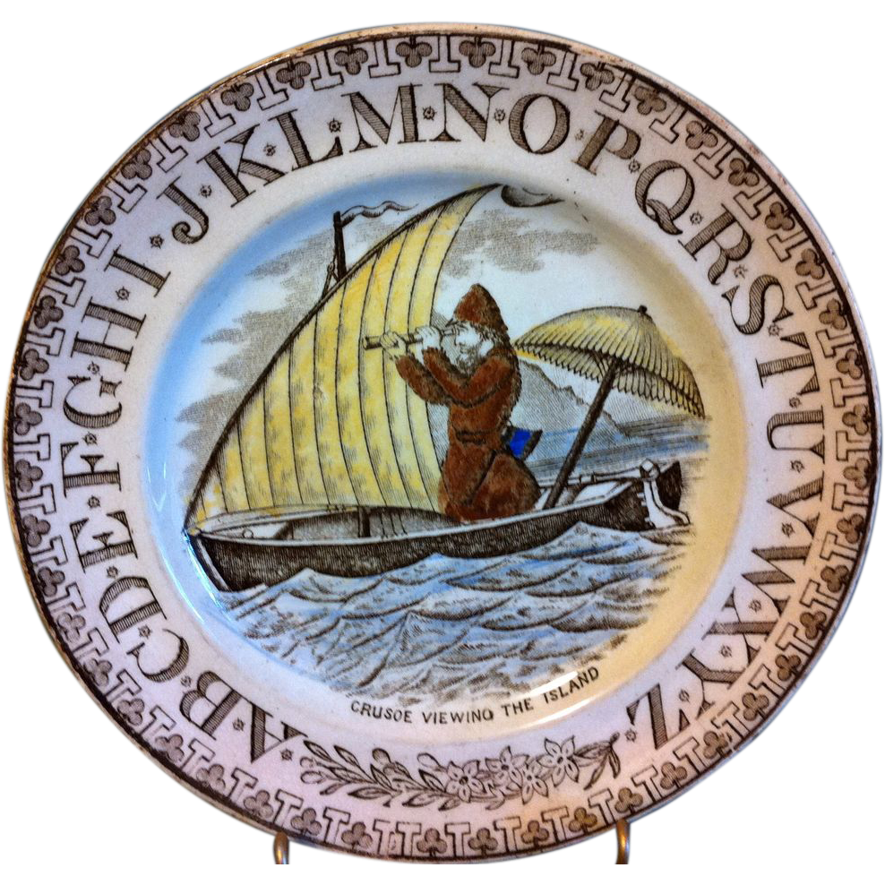 "Brown Transferware ABC Plate ""Crusoe Viewing The Island"""
