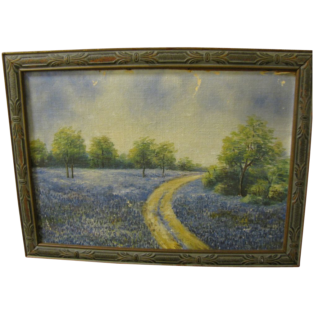 Vintage Texas Bluebonnet Oil Painting Framed From Tomjudy On Ruby Lane