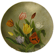 Lovely Papier Mache Plate, Oil Painting, Colorful TULIPS