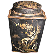 Vintage HARDEN'S TEA Tin, Oriental Black with Birds & Butterflies