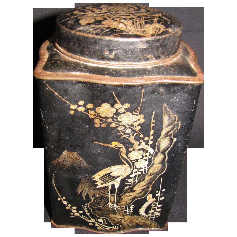 Vintage HARDEN'S TEA Tin, Oriental Black with Birds & Butterflies
