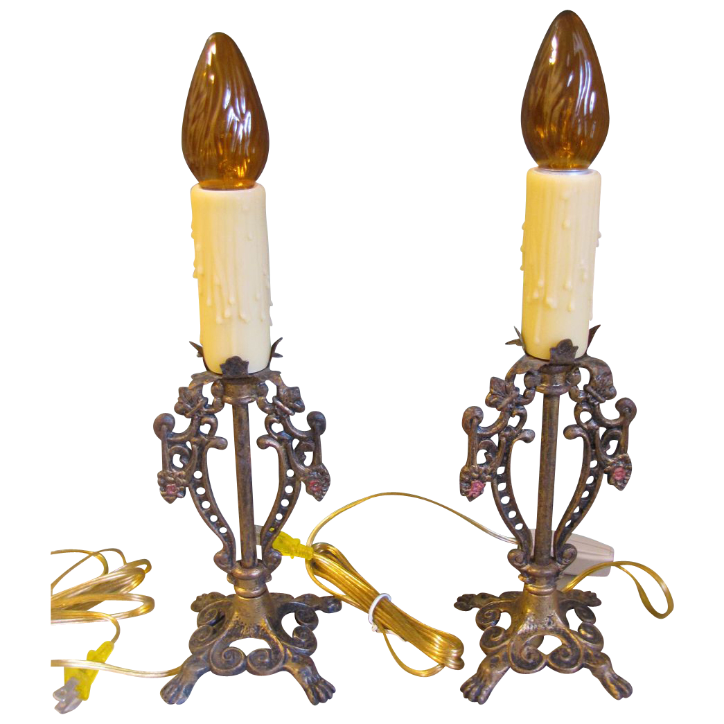 Vintage Pair of Candlestick Lamps, Rewired