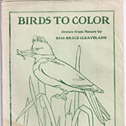 "Vintage Ideal School Supply, ""BIRDS TO COLOR"", Bess Bruce Cleaveland"