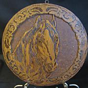 Vintage Flemish Art (Pyrography) Horse Plague, Round