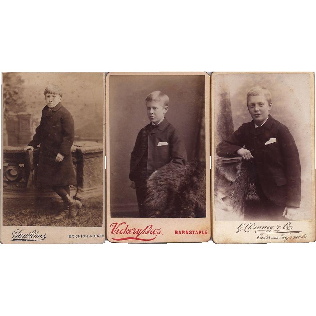 Group of Three Carte de Visite Photographs, Young Boys